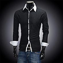 Men\'s Casual Slim fit Long Sleeve Shirts-Black