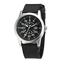Men Stainless Steel Military Sports And ExcersiseDate Analog Quartz Army Style Wrist Watch BK-Black