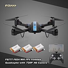 FQ24 6-Axis Gyro WIFI FPV 720P HD Camera Quadcopter Foldable G-sensor RC Selfie Drone Two Extra Battery RTF