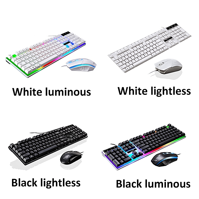 Security & Protection Led Keyboard Mouse Set Rainbow Color Backlight Adjustable Gaming Game Usb Wired Practical Keyboard Mouse Set