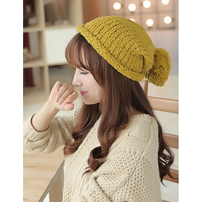 e8906115a07 1Pure color book side soil is yellowAutumn winter knit fabric lovely big  hair ball pure color