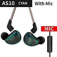 KZ AS10 Headphones 5BA Balanced Armature Driver HIFI Bass In Ear Earphones In Ear Monitor Sport Headset Noise Cancelling Earbuds   XXZ-Z