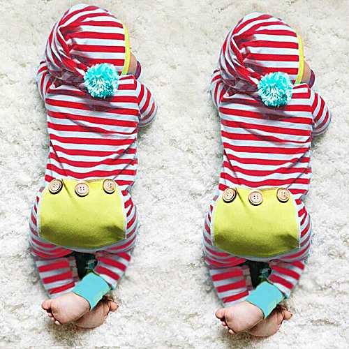 Buy Muyi Infant Newborn Baby Boy Girl Kids Stripe Hooded Romper