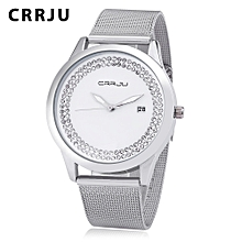 2102 Female Quartz Watch Artificial Crystal Dial Date Display Stainless Steel Mesh Band Wristwatch-SILVER