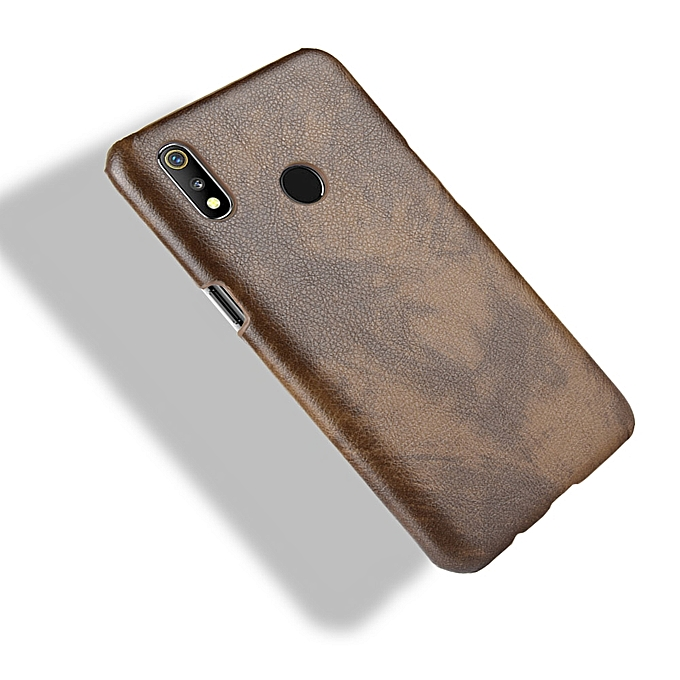 Shockproof Litchi Texture PC + PU Case for OPPO Realme 3 (Brown)