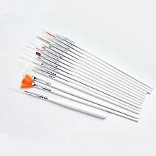 bluerdream-15Pcs Nail Art Acrylic UV Gel Design Brush Set Painting Pen Tips Tools Kit-white