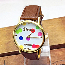 Women Polka Dot Pattern Leather Band Quartz Analog Watches Watch CO