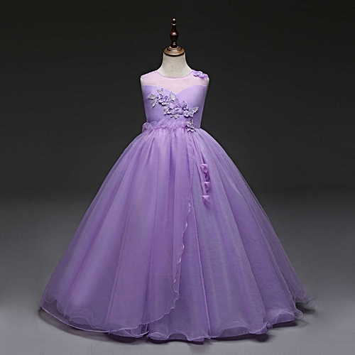 931a7d2e3f119 Fashion new Retail Lace Flower Girl Dress Children Kids Beautiful Wedding Party  Dress Girl Formal Party Pageant Long Princess Dress-purple