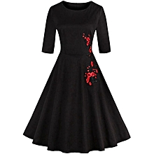 Applique Embroidery Dress - Black