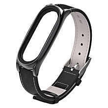 Mijobs Top-grain Leather Strap for Xiaomi Mi Band 3 Wrist Straps Screwless Magnetic Bracelet Smart Band Replace Accessories, Host not Included