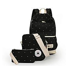 School Bag,Set of 3 Backpack,Canvas School Backpacks, Polka Dot Bookbags-Black
