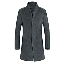 huskspo Men's Jacket Warm Winter Trench Long Outwear Button Smart Overcoat Coats