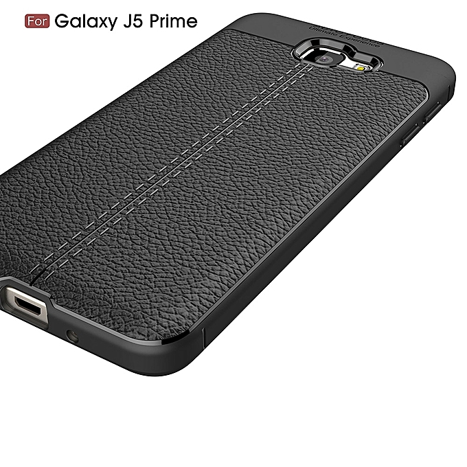... For Galaxy J5 Prime Litchi Texture TPU Protective Back Cover Case (Black) ...