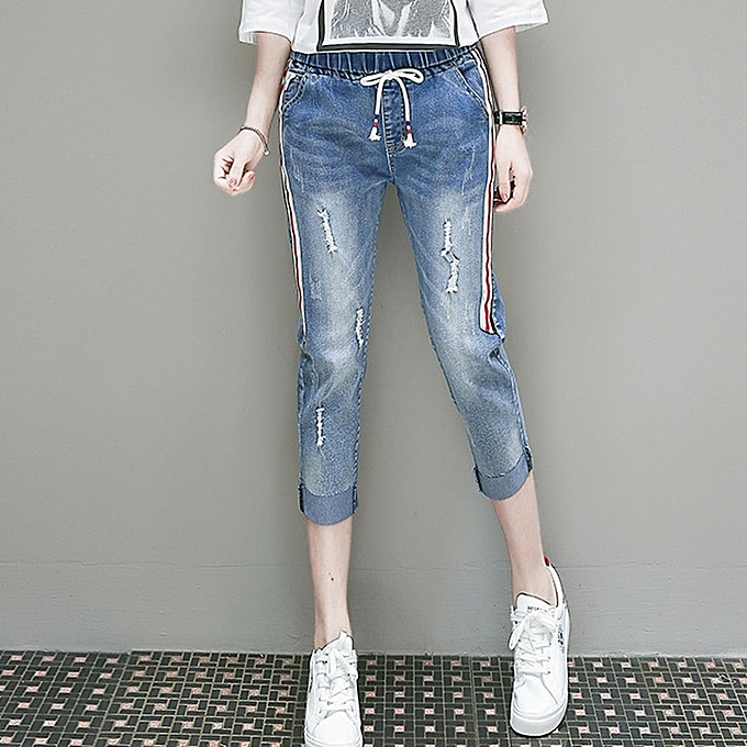 69341cdbba5c4 Fashion Plus Size Side Striped Ripped Jeans Women Summer Cropped ...