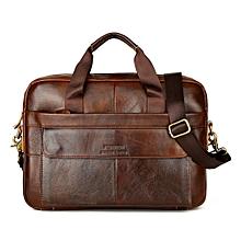 Hiamok Men's Leather Messenger Shoulder Bags Business Work Briefcase Laptop Bag Handbag
