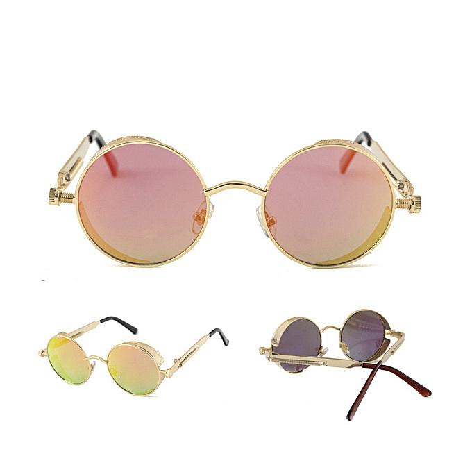 377738ac531 UV400 Vintage Steampunk Round Mirror Lens Sun Glassess Outdooors Sport  Hisper Eyewear For Man Women