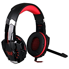 LEBAIQI Game Headset, KOTION EACH G9000 3.5mm LED Light Game headphone with Microphone for for PlayStation 4 PS4 Tablet PC iPhone-Red