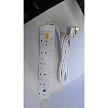 6-Way Socket Power Extension Cable -  JSB 6Away 5m long - White