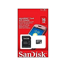 16GB MicroSDHC Memory Card with SD Adapter