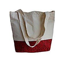 Off White, Red, Black Tote/Shopping Bag