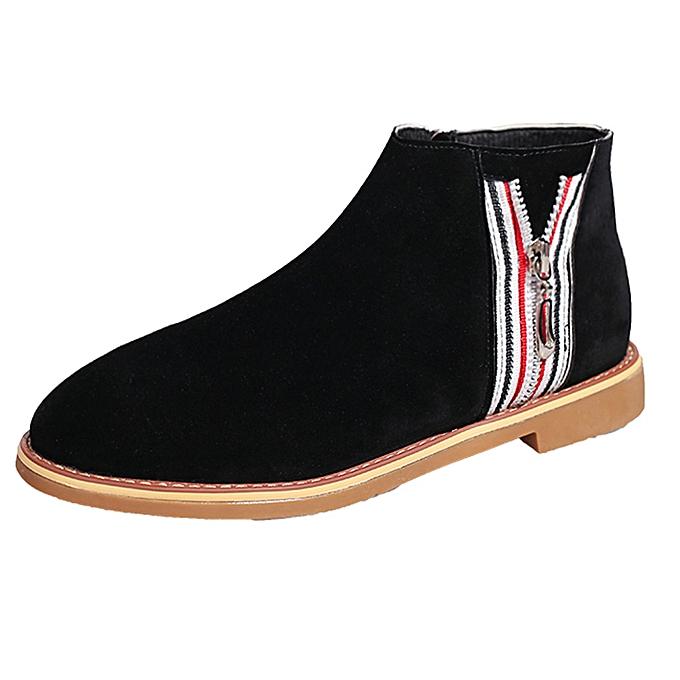 6465260e78c LightningFashion Vintage Women Ankle Boots Soft Leather Flat Shoes  Comfortable Boot Shoes -Black