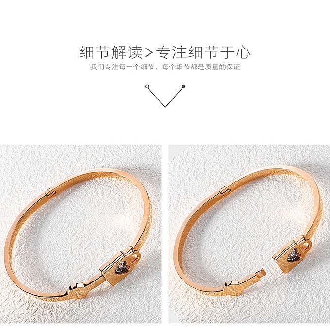 89e2ba37bcc7 ... Rose Gold Hand Jewelry Simple Titanium Steel Girls Love Lock Ring  Bracelet Jewelry Carved Gift- ...