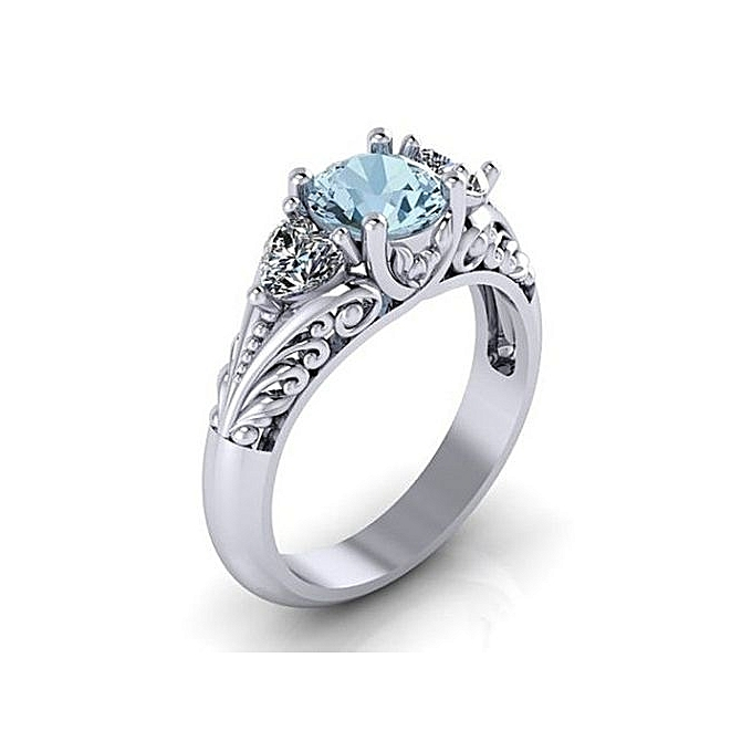 Buy Fashion Sapphire Engagement Ring Creative Couple Ring Silver