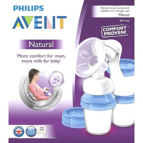 AVENT Natural Breast Pump + Reusable Milk Storage Cup scf330/13 - Clear