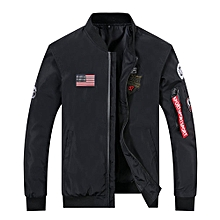 Nice  Men's Flight Suits Pilot Jackets Youth Simple Baseball Collar Embroidery Jackets Student Large Size Jackets-black
