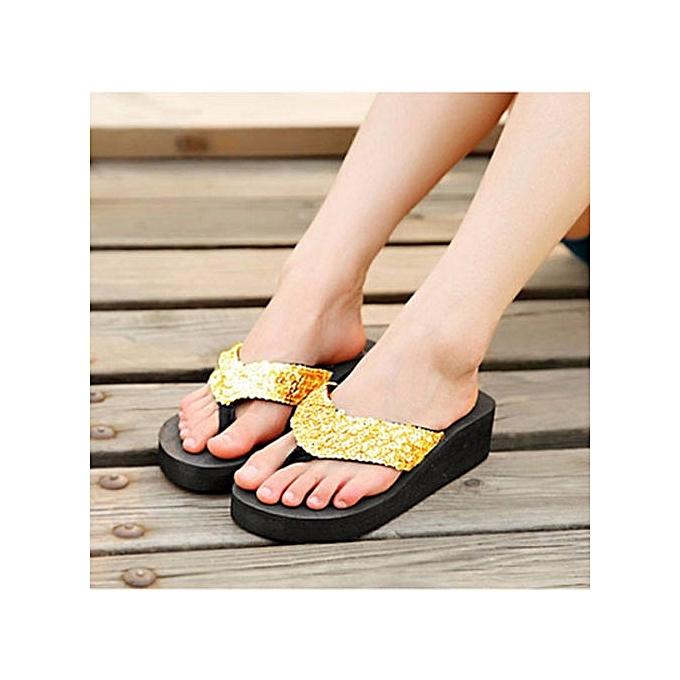 ffd61f6981e Summer Women Wedge Sandals Sequin Thong Flip Flops Platform Casual Slippers  ...