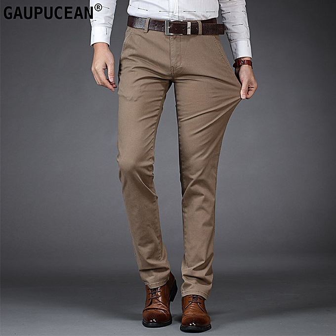 19cd6c1924e Gaupucean Cotton business formal Full Length casual Men Chino Pants ...