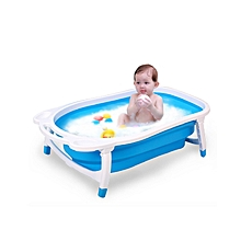 Travel Highly Foldable Blue Bath Tub - Blue & White