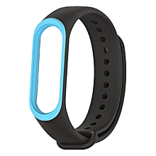 Mijobs Watch Strap Soft Silicone Bracelet Wristband For Xiaomi Mi band 3 blue & black