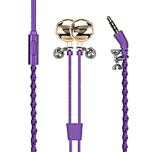 RETRO-2 Purple Wristband Earphones, Premium Tangle-Free Fabric Braided In-Ear Headphones with Passive Noise Canceling, Magnetic Lock and Built-In Mic for Smartphones, Tablets & Laptops