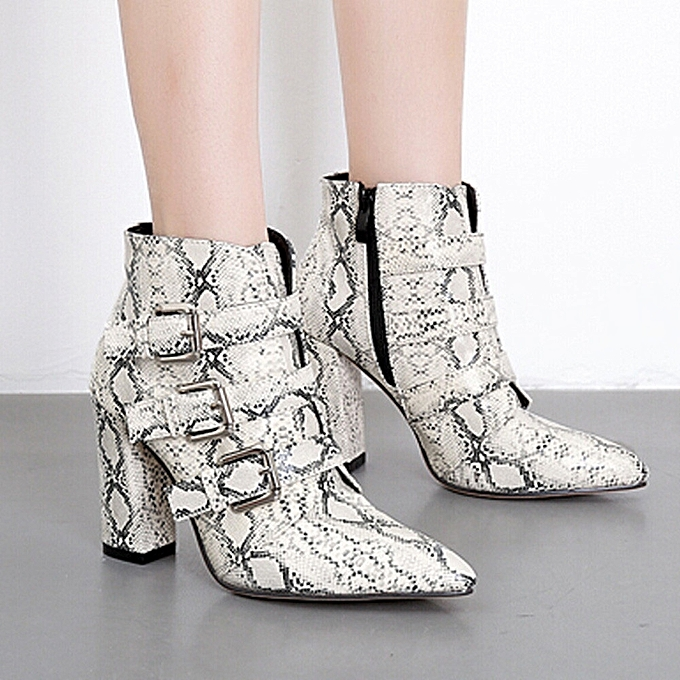9a531980401 hiamok Women Snakeskin Pattern Toe Zip Belt Buckle Thick Pointed Booties  Shoes Boots