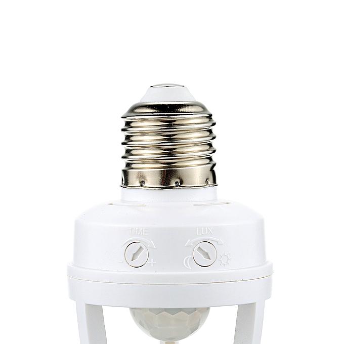 360 Degree Detection PIR Infrared Motion Sensor E27 LED Light Lamp Base  Holder Bulb Socket Day & Night 2 Modes
