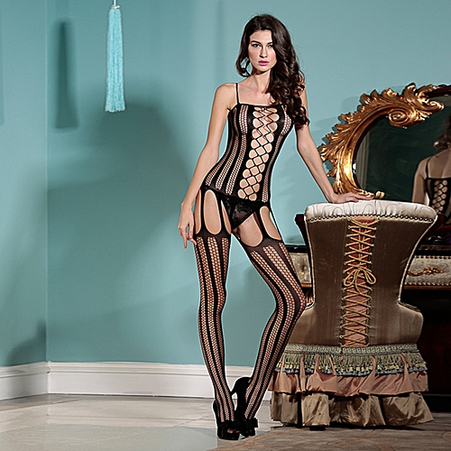 f4cc0ec6c Generic Sexy Women Lingerie Body Stocking Fishnet Striped Open Crotch  Erotic Bodysuit Sleepwear Nightwear Black