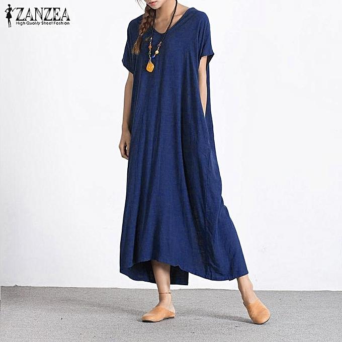 2f6a13b85409 ZANZEA Fashion Women Summer Long Maxi Dress V Neck Short Sleeve Back  Buttons Split Hem Plus
