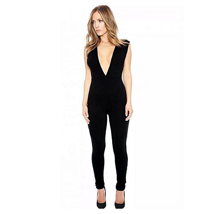 355ae2ff5621 Fashion jiuhap store Sexy Skintight Bodysuit Women V-Neck Elegant Jumpsuit  Romper Bodysuit BK M-Black