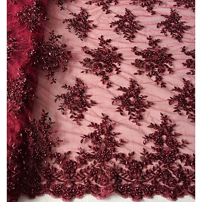 Buy Generic Hot Sale Wine Red Color Embroidered Tulle Fabric With