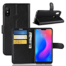Litchi Texture Horizontal Flip Leather Case for Xiaomi Redmi 6 Pro / Mi A2 Lite, with Wallet & Holder & Card Slots(Black)