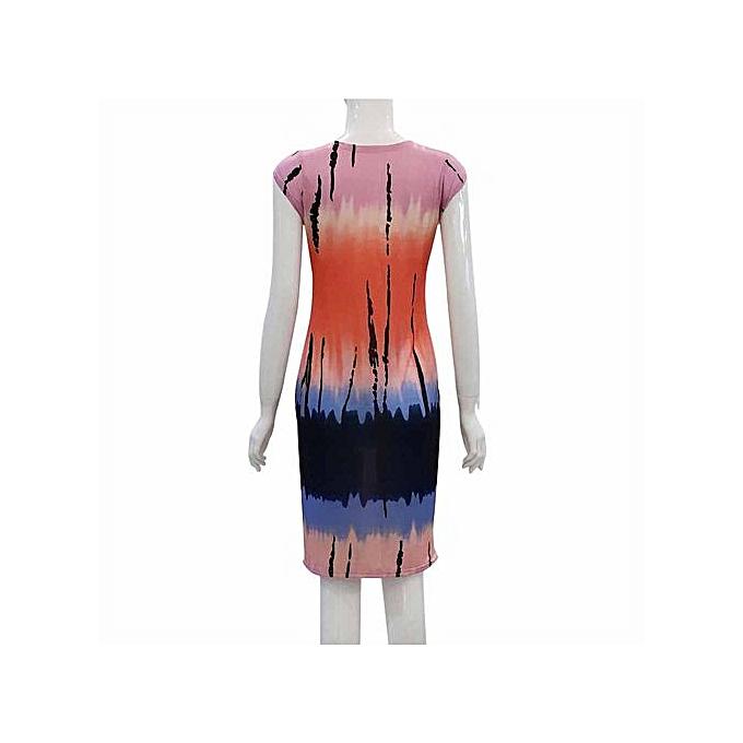 93e8f76f7c Hiaojbk Store Sexy Fashion Women Summer One Step Skirt Slim Printing Dress  MR M-Multicolor