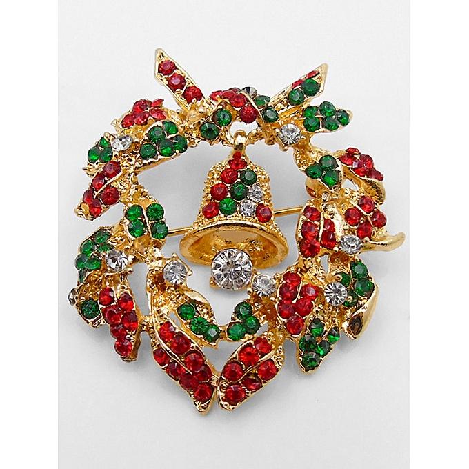 Christmas Garland Bell Shape Brooch Gold