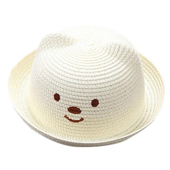 e5167de55351f Summer Baby Cartoon Children Breathable Hat Straw Hat Kids Hat Boy Girls  Hat Cap-White