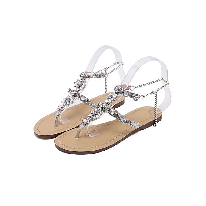 bc9bdf457a4 Women s Sandals Women s Shoes Rhinestone Chain Thong Gladiator Flat Sandals  Crystal Shoes - Silver