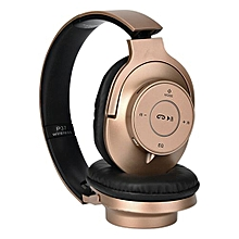 Bluetooth Foldable P37 Headset Stereo Headphone  TF-card Music Play-Gold