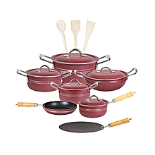 Fine 15 pieces stylish non-stick cooking set (Aluminum Lid) - red