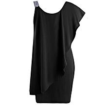 Women Plus Size One Shoulder Mini Dress - Black
