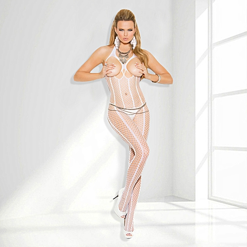107b317ed5 Generic Sexy Women Sheer Stretch Striped Fishnet Halter Body Stocking Open  Bust Crotch Bodysuit Lingerie Nightwear White