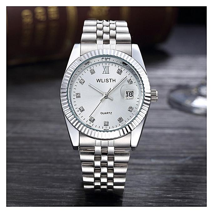 Men Wrist Watch Mens Watches Top Brand Luxury Women Watch Diamond Clock Automatic Date Saat Relogio Masculino Men Silver